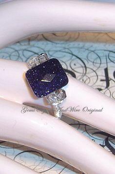 Blue GoldStone Cocktail Ring | GemsCrystalsAndWire - Jewelry on ArtFire