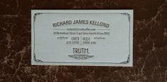 Truth coffee letterpress business card design
