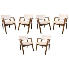 Set of Six Thonet Bentwood and Upholstery Dining Chairs | 1stdibs.com