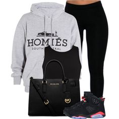 A fashion look from February 2015 featuring hooded sweat shirt, white and black crop top and black pants. Browse and shop related looks.