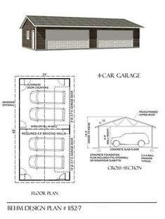 4 car 2 double doors Garage Plans - x by Behm Design. perfect to use in 4 Car, One Story, Under High Garage Plans Garage Guest House, Garage Shop, Car Garage, Garage Doors, Dream Garage, Architecture Design, Plans Architecture, Shop Front Design, Garage Design