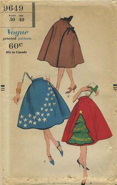 Vintage Circle Skirt Sewing Pattern | Vogue 9649 | Year 1958 | Bust n/a | Waist 30 | Hip 40