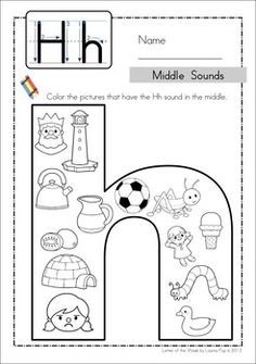 Ending Sounds - Color It! (includes middle sounds worksheets for some letters) Great for Preschool and Kindergarten! Letter H Activities, Alphabet Activities, Preschool Activities, Alphabet Worksheets, Kindergarten Worksheets, Beginning Sounds Worksheets, First Grade Phonics, Kindergarten Prep, Preschool Writing