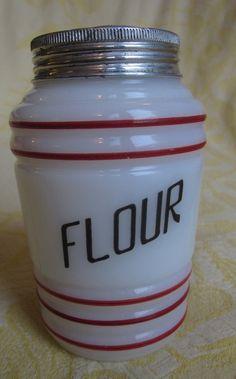 McKee Red & White Milkglass FLOUR Shaker