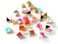 24 Mini Color Block Magnets by CuppaColor