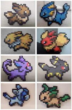 Hama beads AGN Málaga: Pokemon – Evee and its evolutions - diy Melty Bead Patterns, Pearler Bead Patterns, Perler Patterns, Beading Patterns, Peyote Patterns, Pearler Beads, Crochet Patterns, Perler Bead Designs, Hama Beads Design
