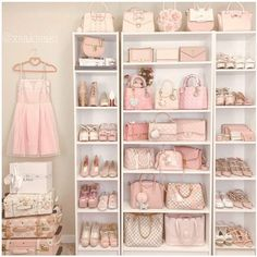 Can you imagine having a shoe and bag closet like this? Me too. 🙌🏼 total closet goals 🙌🏼 ******** So feminine and… Girl Bedroom Designs, Room Ideas Bedroom, Bedroom Decor, Bedroom Inspo, Shabby Chic Bedrooms, Trendy Bedroom, Bag Closet, Pink Closet, Wardrobe Closet