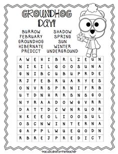 It's Groundhog Day! 16 Free Teacher Ideas – Daniel Molina It's Groundhog Day! Groundhog Day Activities, Holiday Activities, Graphing Activities, Fun Activities, Holiday Crafts, February Holidays, School Holidays, January, Seasons Worksheets