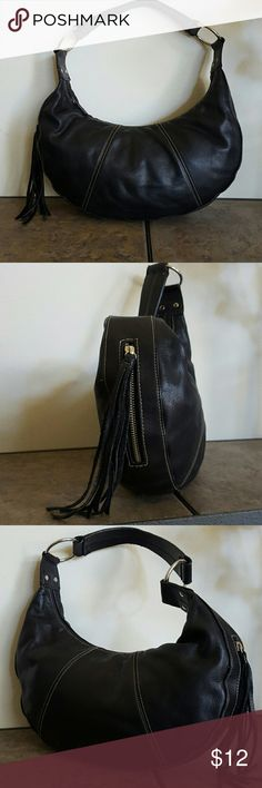 Worthington Leather Half Moon Hobo Very gently pre loved leather hobo with vinyl trim for durability. Outer zip pocket with tassle pull.  Zip top closure.  13 x 6 x 2. Worthington  Bags Hobos