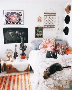 Bohemian home decor. Boho bedroom