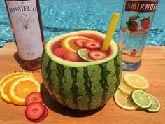 Make your night an awesome tropical escape with our Mini Vodka Watermelon Bowl! - OR - watermelon puree, orange vodka, rose - back in the watermelon! Cocktails, Party Drinks, Cocktail Drinks, Fun Drinks, Alcoholic Drinks, Beverages, Camping Drinks, Drinks Alcohol, Cocktail Recipes