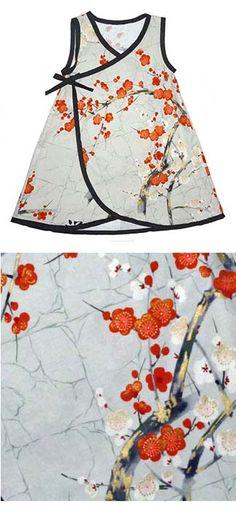 Punk Rock Baby Kimono Baby Dress: Grey with Tangerine Cherry Blossoms