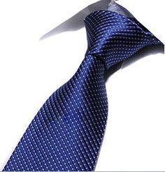 MOHSLEE Navy Blue White Plaid Stripe New Classic Silk Men's Tie Business Necktie
