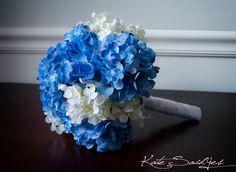 Silk Wedding Bouquet Blue and White Hydrangea Bridal Bouquet.