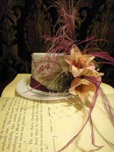 Steampunk Garden Wedding White Bridal Mini Top Hat Grape Peacock Green Feathers Pink Flowers Lace Fascinator