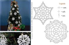 Second is super Victorian Christmas Ornaments, Crochet Christmas Ornaments, Christmas Crochet Patterns, Christmas Snowflakes, Christmas Crafts, Crochet Snowflake Pattern, Crochet Stars, Crochet Snowflakes, Crochet Fairy