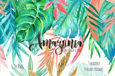 Tropical leaves. Amazonia gold by LABFcreations on @creativemarket