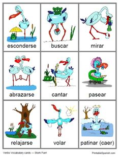 Here is a cute little set of 9 verb cards, each featuring one or more storks doing various things — hugging, singing, skating (and falling), relaxing… and 5 other actions. This set incl… Learning Spanish For Kids, Spanish Games, Spanish Lessons, Teaching Spanish, Learn Spanish, Spanish Class, Spanish Sentences, Spanish Grammar, Spanish Vocabulary