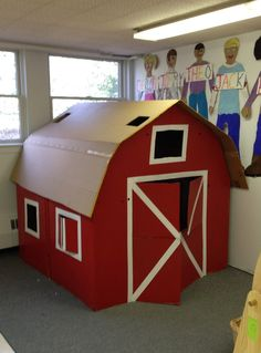 Our Wonderful Big Red Barn made with 3 refrigerator boxes. Really simple and fun!