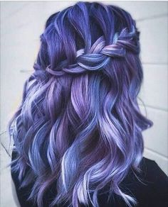 50 Mermaid Hair Style & Color Ideas This trend will make you wiggle in Because the pastel color tones are essentially cold however, they're seemingly warm! Hair Color Purple, Cool Hair Color, Grey Hair To Pink, Curly Purple Hair, Ombre Colour, Color Tones, Bright Hair, Colorful Hair, Dyed Hair
