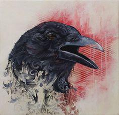 17 Ideas For Black Bird Drawing Crows Ravens Mixed Media Crow Art, Raven Art, Bird Art, Love Birds, Beautiful Birds, Rabe Tattoo, Zealand Tattoo, Quoth The Raven, Jackdaw