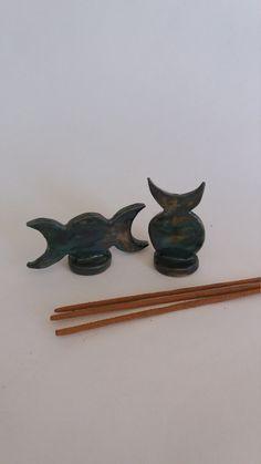 Horned God, Moon Goddess Incense Holder Altar Set, Protection Symbol, Handcrafted Stoneware