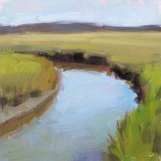 """Daily Paintworks - """"Marsh in the Morning"""" - Original Fine Art for Sale - © Carol Marine Abstract Landscape Painting, Seascape Paintings, Watercolor Landscape, Landscape Art, Landscape Paintings, Paintings I Love, Small Paintings, Cool Artwork, Painting Inspiration"""