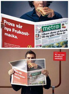 マクドナルドの屋外キャンペーン。つい食べたくなってしまう心理を活用したアイデアです。<スウェーデン>