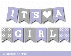 Lilac and grey baby shower banner, It´s a boy, It´s a girl, PB-494