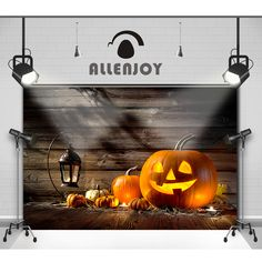 >> Click to Buy << Allenjoy Photographic backdrop Pumpkin fire wood wooden wall Halloween Lovely Baby Vinyl Photocall backgrounds for photo studio #Affiliate
