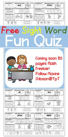 Free/Kindergarten/First Grade/Second Grade/Sight Word Activities/Dolch Pre-Primer, Primer, and First Grade/ Kindergarten Reading/Reading Comprehension/ Reading Fluency/Cut and Paste/Printables/ Formatted quiz worksheet, students will have multiple choice question, color, count, dab, cut and paste puzzles, and match the pictures with sentences.