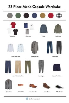 Trying to get your man to go the capsule wardrobe route? Check out this one that only needs 23 dang pieces! Fast, suave, and appropriate year round. Boy, men have it easy! Capsule Wardrobe Casual, Mens Wardrobe Essentials, Men's Wardrobe, Minimalist Wardrobe Men, Minimalist Clothing, Trajes Business Casual, Mode Man, Men Style Tips, Style For Men
