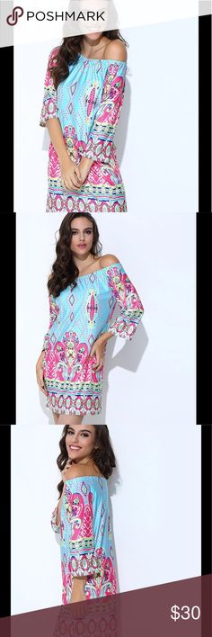 Bohemian off the shoulder summer dress Colorful light weight summer off the shoulder dress.  This dress is a straight cut through the hip area and runs as follows medium is 2-4, large 6-8, XL 10-12, XXL 12-14 and 3X is  14-16.  If you are on the edge of a size, buy a size up. Aproms Dresses Midi