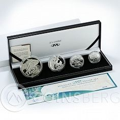 South Africa set of 4 coins 50,20,10,5 Cents Wildlife Jackal silver proof 2006