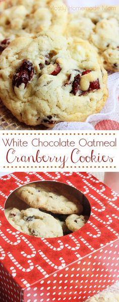 White Chocolate Cranberry Oatmeal Cookies - These chewy oatmeal cookies are filled with sweet white chocolate chips and tangy dried cranberries. The red and white, candy cane colors make these wonderful for Christmas gifts!