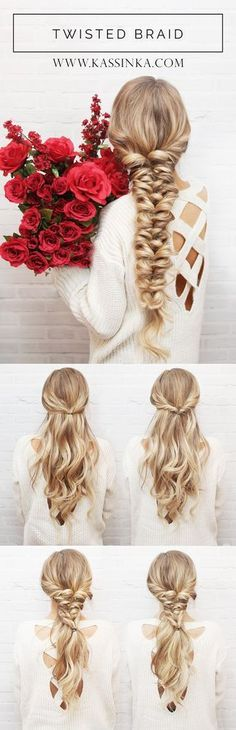 Twisted Braid Hair Tutorial (Kassinka) Your hair is your best accessory. I am back with Valentine's Day inspired hair tutorial to help you always feel your best & look amazing. Read the steps below and then let me know in the comments whic Twist Braid Hairstyles, Braided Hairstyles Tutorials, Twist Braids, Up Hairstyles, Pretty Hairstyles, Fishtail Braids, Very Easy Hairstyles, Plaits, Braids Long Hair
