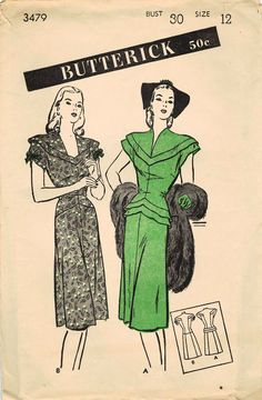 1940s Butterick 3479 FF Vintage Sewing Pattern Misses Evening Dress, Afternoon Dress Size 12 Bust 30