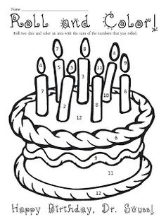 Birthday Cake Coloring Page Worksheets Birthdays and School