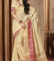 Buy Beige woven cotton_silk saree with blouse banarasi-silk-saree online