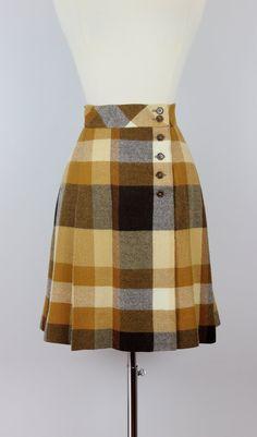 vintage 70s plaid wool skirt / plaid wool mini by archetypevintage