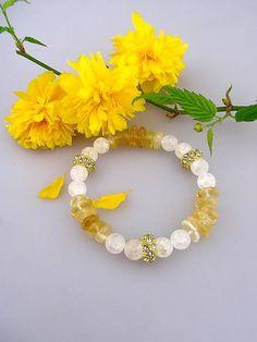 Sima-polodrahokamy / Royal bracelet - náramok citrín krištál a štras korálky Royals, Bracelets, Jewelry, Jewlery, Jewerly, Schmuck, Jewels, Jewelery, Bracelet
