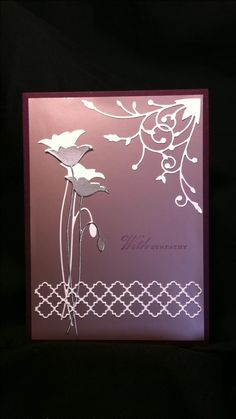 An inspiration that I saw recently that was perfect for this sympathy card. Clean lines, simplicity . Dies are from Memory Box. Madera Corner, prom Poppy and Tessarina Border. Using white card stock and mirrored silver card stock. The background is a mauve matte metallic paper and eggplant base. I want to give credit to the person who came up with this design, but I have lost it on my feed.