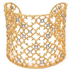 Alexis Bittar Muse D'Oré Gold Crystal Studded Spur Lace Cuff ($245) ❤ liked on Polyvore featuring jewelry, bracelets, gold, gold jewellery, yellow gold bangle, gold bangles, alexis bittar jewelry and yellow gold jewelry