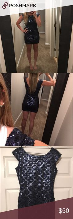 NAVY BLUE SEQUIN MINI DRESS great condition, navy blue sequin mini dress with open back..no pullys or missing sequins..pretty short but i have a big butt so it looks extra short on me lol.. Macy's Dresses Mini