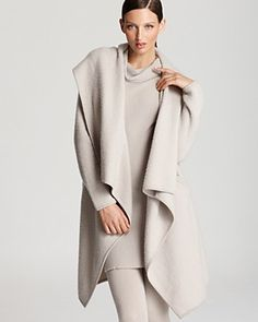 Donna Karan New York Coat - Hooded Drape Front Cozy | Bloomingdale's