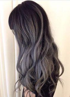 Deep gray black balayage hairstyle