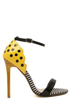 Patent Leather Stiletto Heel Dot Sandals