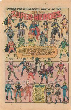 Enter the Wonderful World.Mego Super-Heroes ad from 1976 Vintage Advertisements, Vintage Ads, Batman Riddler, Superman Wonder Woman, Childhood Toys, Childhood Memories, Classic Monsters, Retro Toys, Vintage Comics