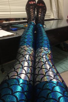 blue and silver color mermaid scale holographic print leggings