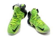 Lebron 12 PS Elite Fluorescent Green Charcoal Black 650884 002 - Click Image to Close.